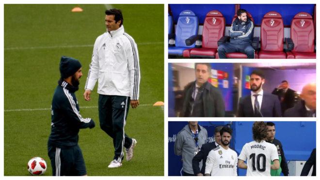 Pemain Real Madrid, Isco Alarcon dan Pelatih Santiago Solari (Foto: www.marca.com)