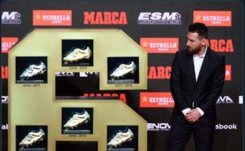 Lionel Messi meraih gelar sepatu emas eropa yang keenam kali. Jumlah ini mengalahkan Cristiano Ronaldo yang baru meraih empat kali. (Twitter ESPNFC)