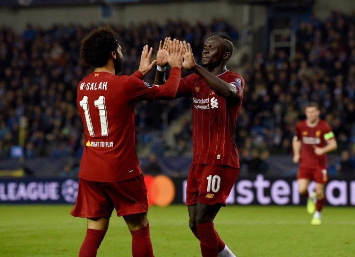 Striker Liverpool, Mohamed Salah (kiri) dan Sadio Mane. Keduanya menjadi andalan saat laga Liverpool vs Tottenham Hotspur (Twitter Liverpool)
