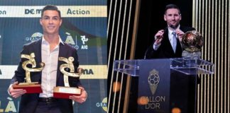 Cristiano Ronaldo menerima penghargaan sebagai pemain sekaligus penyerang terbaik Liga Italia musim 2018-2019. Lionel Messi menerima trofi Ballon d'Or 2019 (Twitter Juventus dan Barcelona)