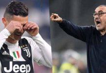Pelatih Juventus, Maurizio Sarri salahkan Cristiano Ronaldo Cs setelah dikalahkan Lyon, 0-1, dalam leg pertama babak 16 Besar Liga Champions 2019-2020. (Jawasport.com)